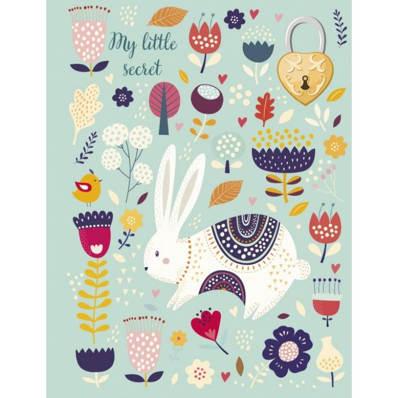Блокнот с замочком «Веселый кролик», 80 листов
